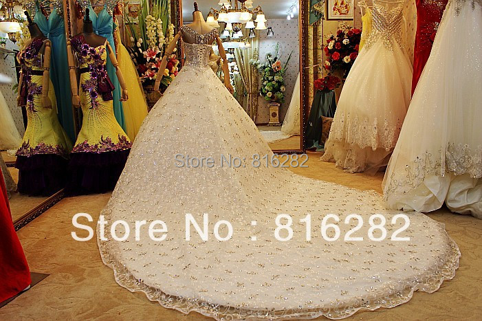 A-Line Floor-Length Cathedral Royal Train Beads Sequined Rhinestone Scoop Spaghetti Straps Lace White Voile Wedding Dresses - LANDUOER Dress Ltd. store