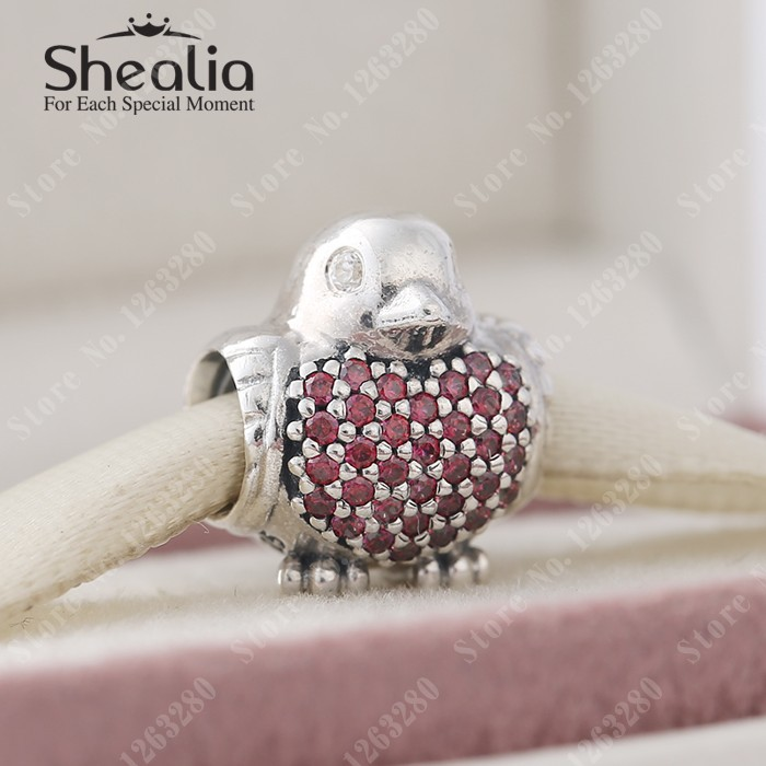 2015 Autumn New Animal Robin Charms With Red &amp; Clear CZ Pave Bird Charm 925 Sterling Silver Fine Jewelry Fits DIY Bracelets<br><br>Aliexpress