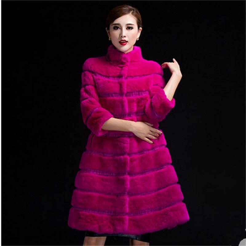 Здесь можно купить  Real fur coat 2015 Winter Black Yellow Blue Orange Red Purple Mandarin Collar Double-faced Fur Long Rabbit Fur Famale MYN040   Одежда и аксессуары