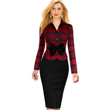 Winter New Women Elegant Faux Twinset Pencil Dresses Lapel Tartan Houndstooth Bow Belt Peplum Patchwork Work Office Sheath Dress