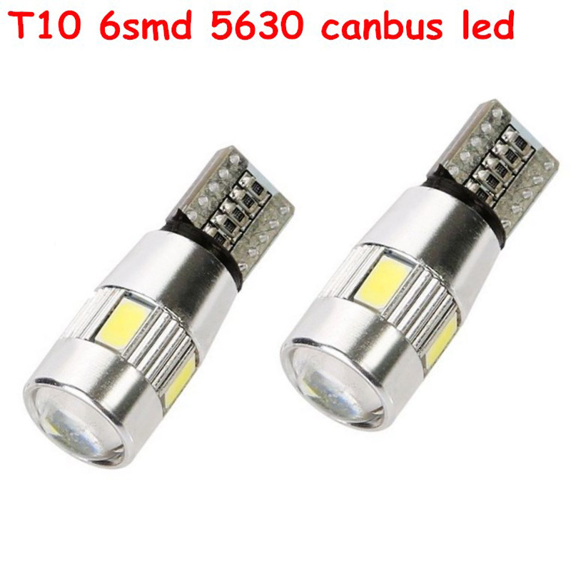 2 pcs High power T10 w5w led car light t10 6smd 5630 5w5 12v t10 white car bulb Lamp interior light w5w t10 canbus error free(China (Mainland))