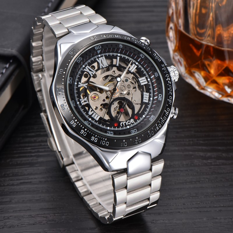 MCE Fashion brand Men Skeleton Mechanical Watch Stainless Steel Hand Wind Watches Transparent Steampunk Montre Homme clock men