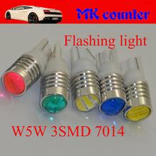 10X T10 W5W 3 SMD 7014 LED Flash strobe Car Wedge Light 194 168 501 Side Parking Indicator Light Pink Green DC12V(China (Mainland))