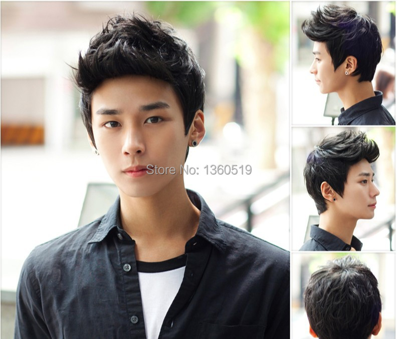 Free shipping New wholesale Aircraft boy wig men handsome students short hair male hair fleeciness realistic wig inclined bang(China (Mainland))