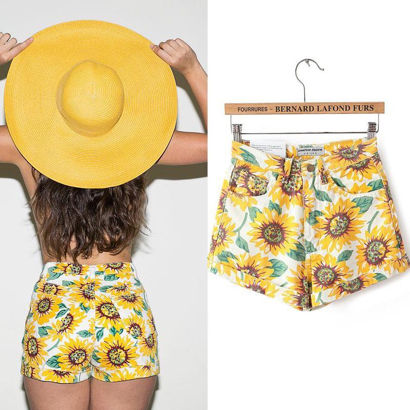 Hot Sale 2015 Fashion summer new women shorts girl sunflower printing short Women's Shorts Free Shipping(China (Mainland))