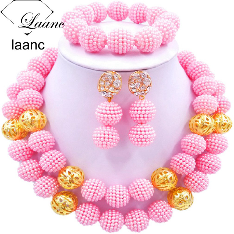 01-African Simulated Pearl Beads Jewelry Set Singe Color (17)