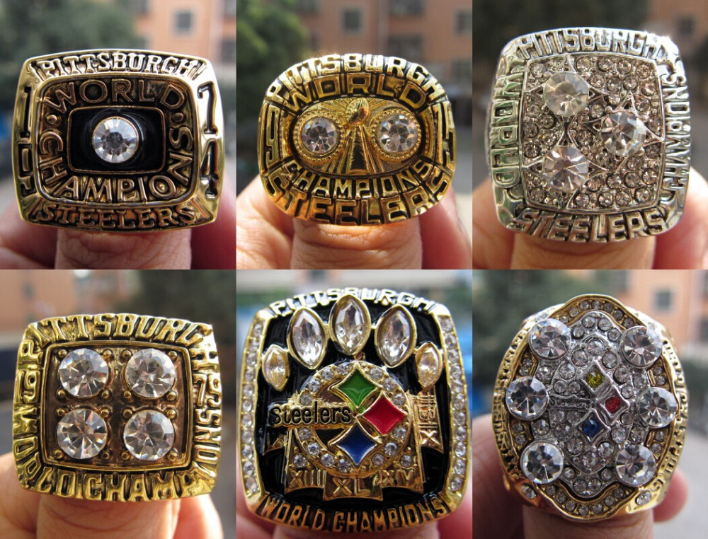 Free Shipping 1974 1975 1978 1979 2005 2008 Pittsburgh Steelers Super Bowl Championship Ring six together solid high quality(China (Mainland))