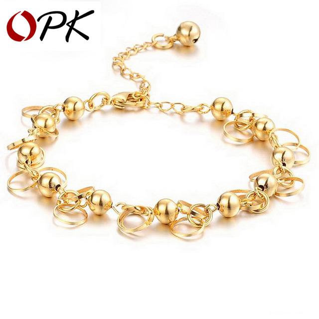 OPK JEWELRY new arrival 18K YELLOW GOLD Plated BRACELET charm bracelets anti-allergy, wholesaler 155