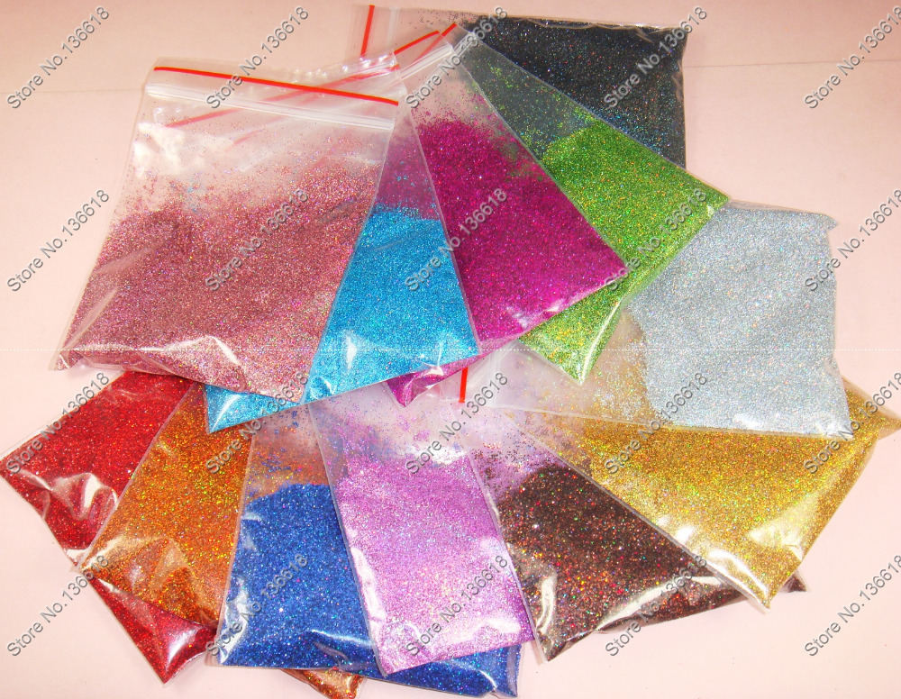 "120g x 1/128""(0.2mm)Mixed 12 Laser Holographic Colors Shining Nail Glitter Dust Powder for Nail Art & Crafts DIY decoration(China (Mainland))"