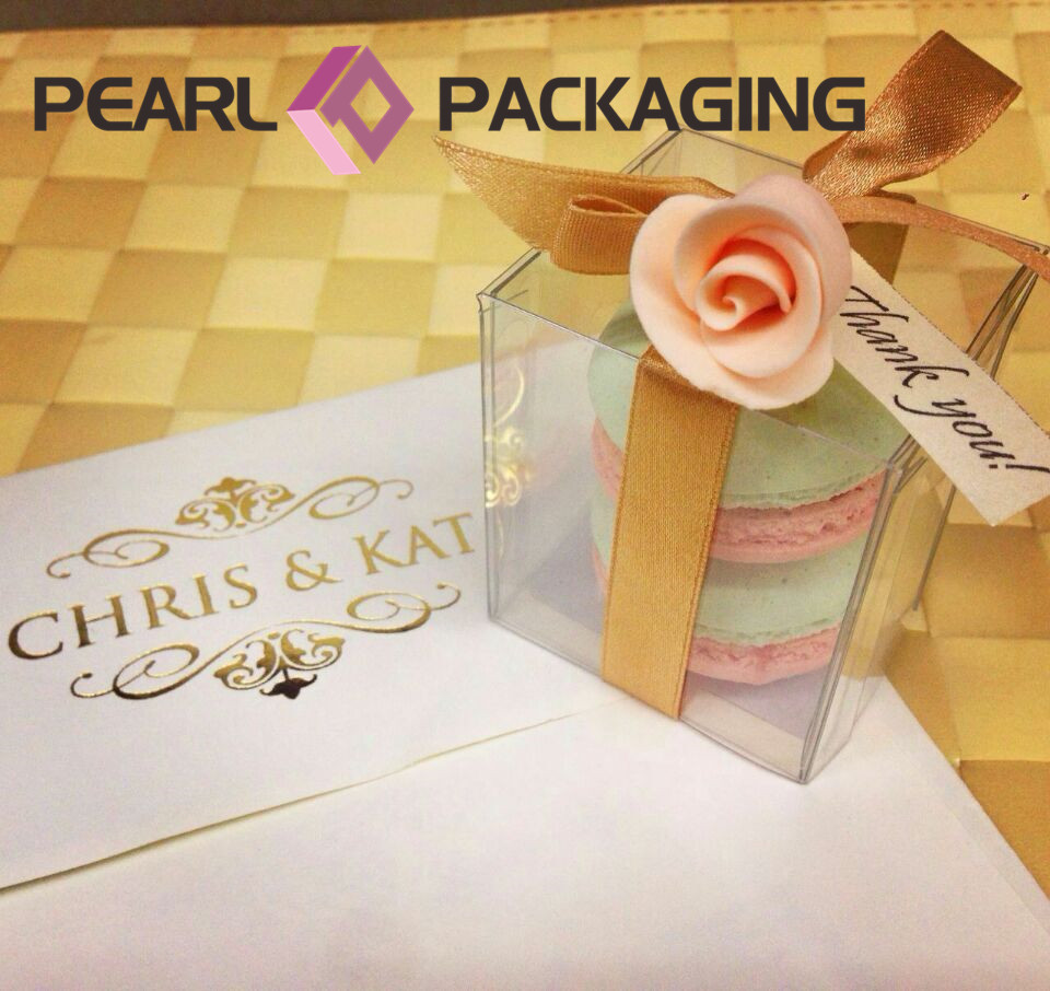 Transparent Macaron Box, Food Grade PET Box with Gold Paper for Macaron Packaging, Personalized Sizes, 1000pcs/lot Free Shipping(China (Mainland))
