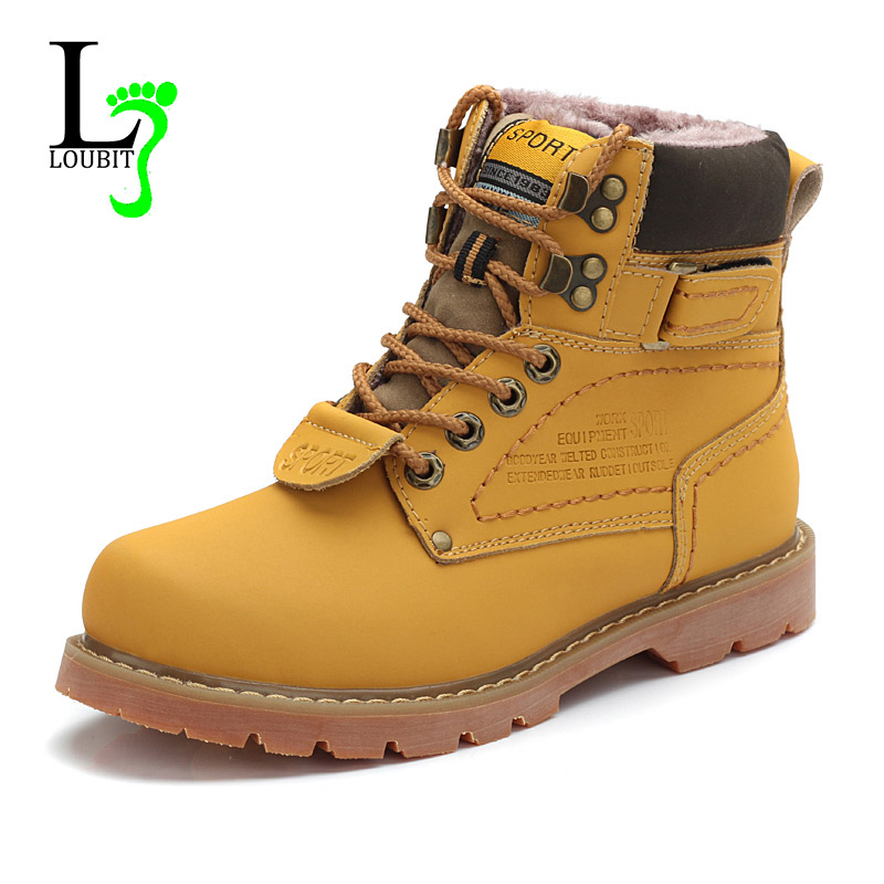 2016 Men's Winter Snow Boots Cow Split Leather Boots With Fur Shoes High Quality Men Outdoor Work Shoes Plus Size(China (Mainland))