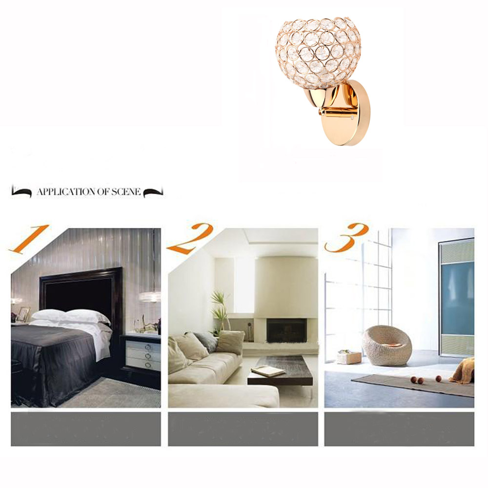 Modern Indoor Decorative Luxury Crystal Wall Bracket Lamp Shade Cover for Bedside Bedroom Stair E14 Single Base Gold Color(China (Mainland))
