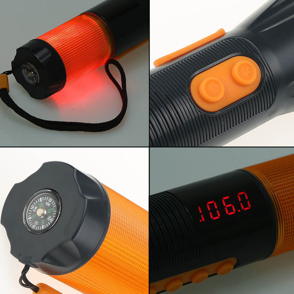 Waterproof 9 in 1 Hand Crank Flashlight Torch Charger Blink Siren AM FM Radio Compass Seat