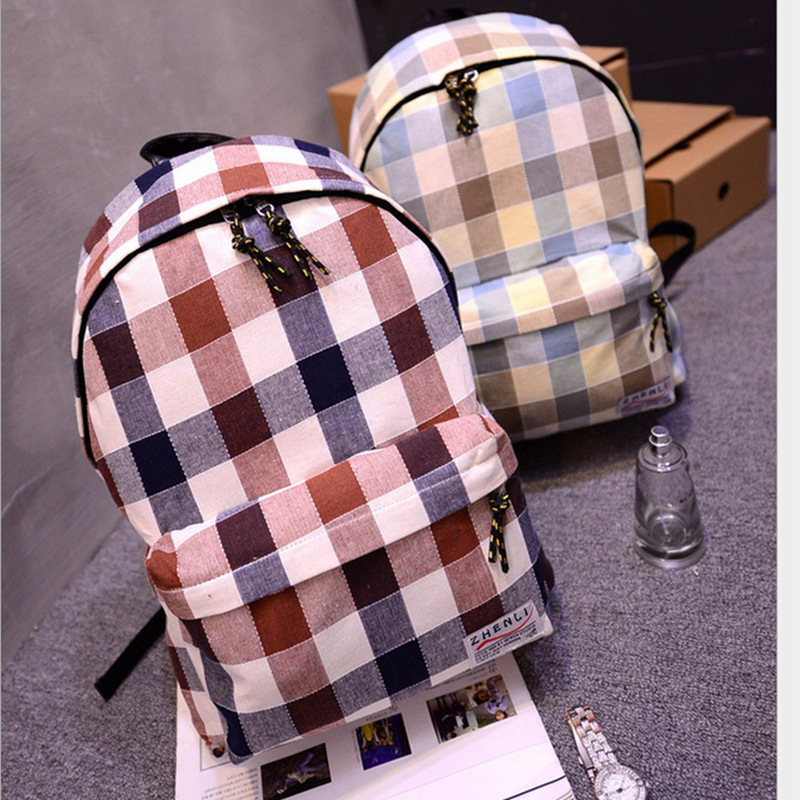 Student Plaid School Bag Canvas Women School Bags For Teenagers Lady Square Laptop Backpack Mochila Masculina Fashionable