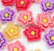 Set of 50pcs  mixed color Peony flower resin cabochons (20x6mm) Cell phone decor, hair accessory DIY sz1003