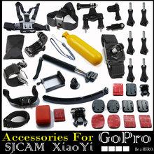 Gopro Hero Accessories Set Helmet Harness Chest Head Mount Strap Monopod Go pro hero3 Hero4 2 3+ Sj4000 xiaomi yi Black Edition