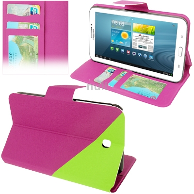 Гаджет  Purple 2-color Gravel Texture Leather Case with Holder and Credit Card Slots for Samsung Galaxy Tab 3 (7.0)/ P3200 Free Shipping None Изготовление под заказ