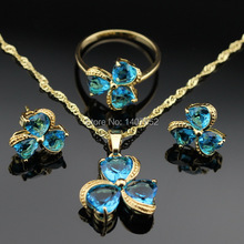Heart Clover Blue Topaz Red Garnet Jewelry Sets For Women/Lady 18K Gold Plated Earrings/Ring/Pendant Free Jewelry BoxJS20/21(China (Mainland))