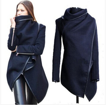 wholesale 2015 Black newly listed Autumn Spring Coat Womens Overcoat Temperament Slim Trench Desigual women Wool & Blends S-XXL