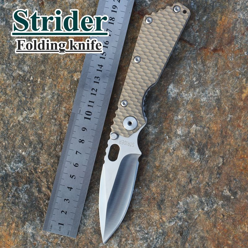2015 HOT Free Shipping New Tactical Survival Folding Knife Strider SMF desert G10 Handle MSC Stainless Steel Blade Best quality(China (Mainland))