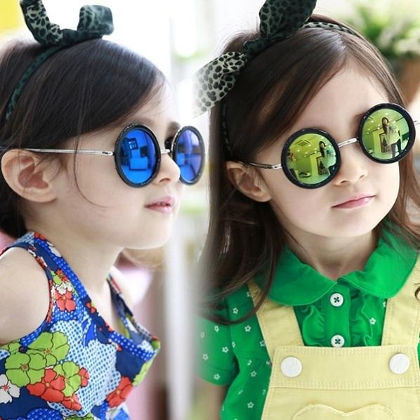Ретро солнцезащитные очки Дети лето круглый очки Дети цвет filmsun оттенки Красивые девушки óculos Металл gafas Ребенок любит KS0041