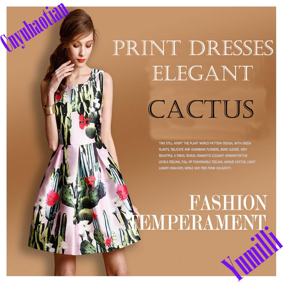 New 2015 Women Dress Sleeveless Plus Size Party Vest Summer Dress Europe Temperament Tutu Cactus Printed Causal Dresses Vestidos(China (Mainland))