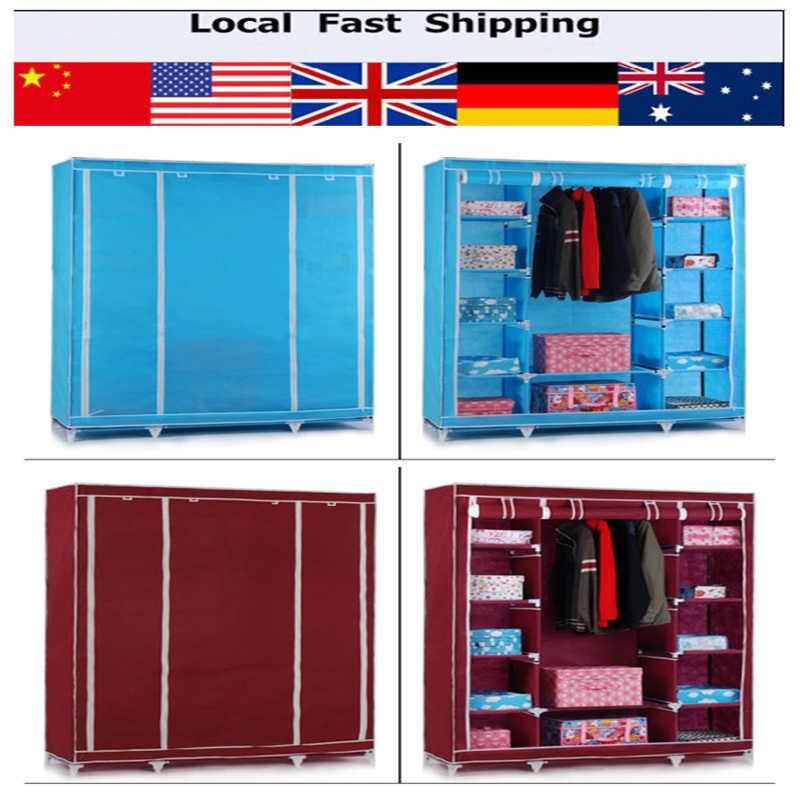 Large Wardrobe Closet Steel Tubes Canvas Scroll Closet Furniture Simple Folding Reinforcement Clothes Store(Hong Kong)