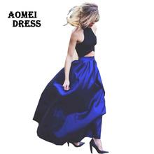 4xl 5xl Blue 118cm Length Long Maxi women summer skirts faldas High Waist Pleated womans Jupe Female Clothes floor length skirt(China (Mainland))