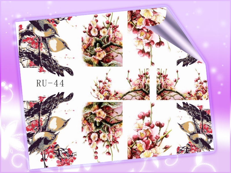 1X Water Stickers Nail Decals Full Cover BIRD FLOWER WINTER BLOSSOM RU044(China (Mainland))