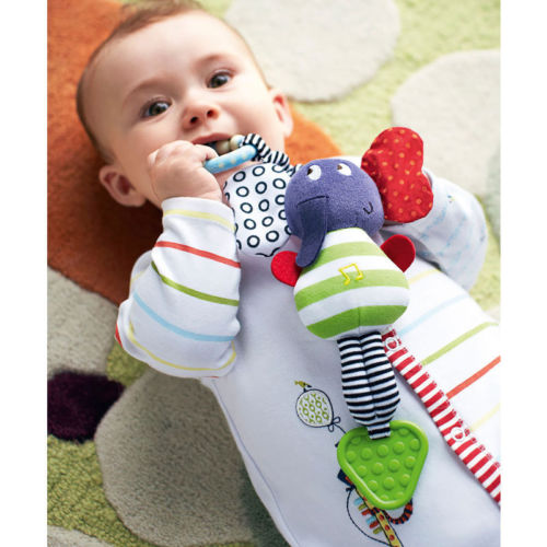 2016 New Baby Rattles Infant Kids Music Elephant Hanging Hand Bed Stroller Soft Dolls Educational Toys Teether Rattles Baby Toys(China (Mainland))