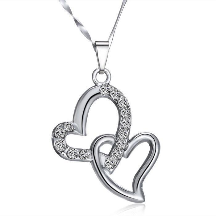 2015 hot sale jewelry woman Austrian crystal jewelry pendant birthstone double heart necklace Mother's Day gift(China (Mainland))