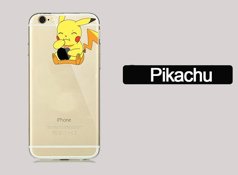 Cute Cartoon Pokemons Go Pikachue Case for coque iphone 7 Plus 6 6S 5 5SE Soft Transparent Cover Mermaid Minion Case Accessories