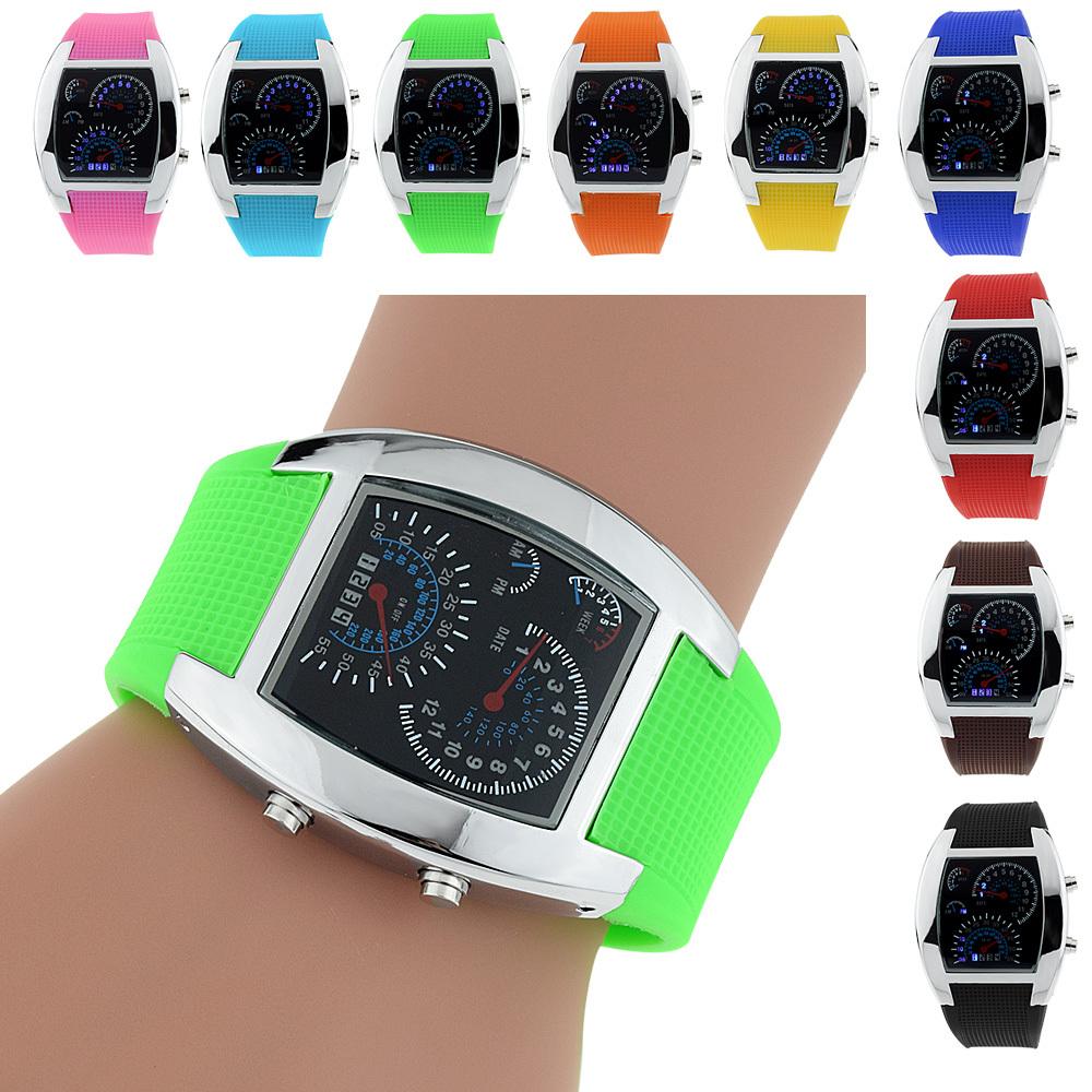 Innovative Men Sports RPM Turbo Flash LED Car Speed Meter Dial Waterproof Digital Wrist Watch(China (Mainland))