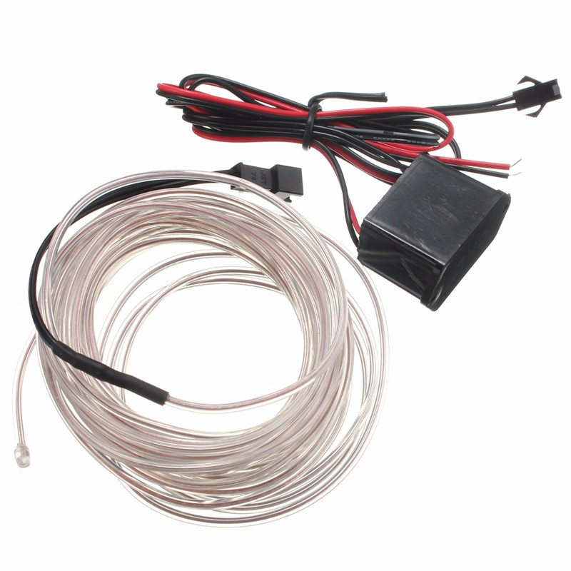 Hot Sale 4M Led Flexible EL Wire Neon Glow Light Car Auto Party Wedding Decoration With 12V Controller(China (Mainland))