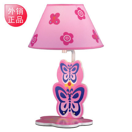 Butterfly cute cartoon bedside lamp for children to learn the fabric bedroom pink table lamp(China (Mainland))