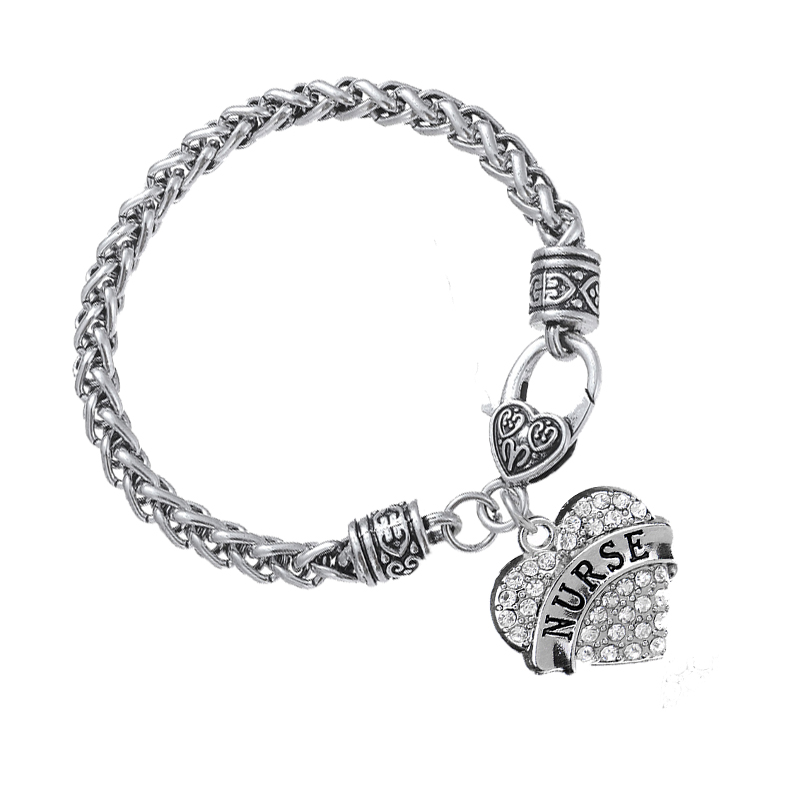 3 Colors Charm Knit Nurse Silver Pink Heart Crystal Bracelet Women Men Gifts Rhinestone Bangle Jewelry Doctor Wristbands Bijoux(China (Mainland))
