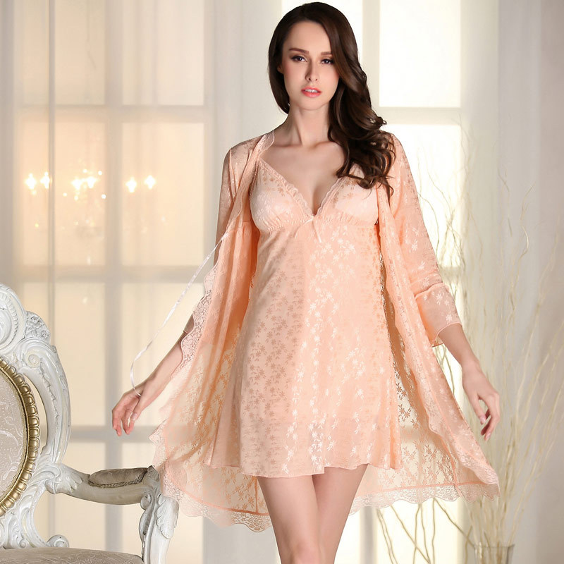 2 Pics sexy summer Nightgown robes with lace bra pink Babydoll Lace Robes Sleepshirt(China (Mainland))