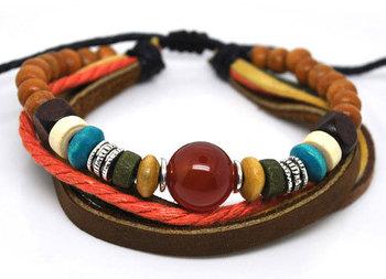 Wholesale mix 36pcs 3 IN 1 Assorted Sardonyx Handmade Wrist Surfer Hemp BROWN Leather Bracelet Jewelry Present
