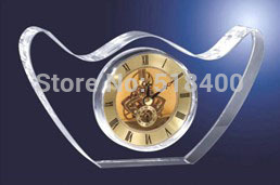 Customer's recommending hot design high quality crystal crafts crystal table clocks with engraving your logo(China (Mainland))