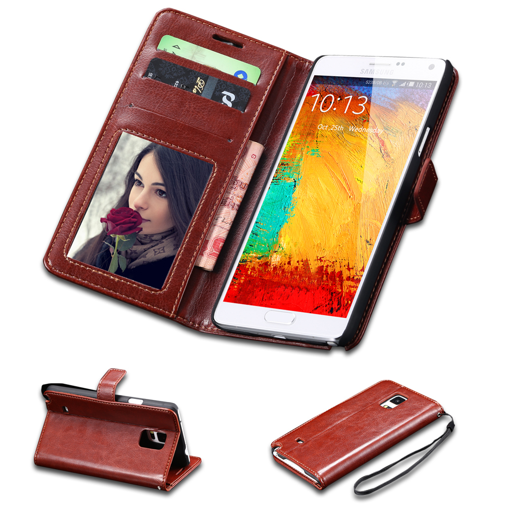 Hot Selling Vintage Crazy Horse Skins PU Leather Case For Samsung Galaxy Note 4 N9100 Stand Card Slot Wallet Cover Note 4 Cases(China (Mainland))