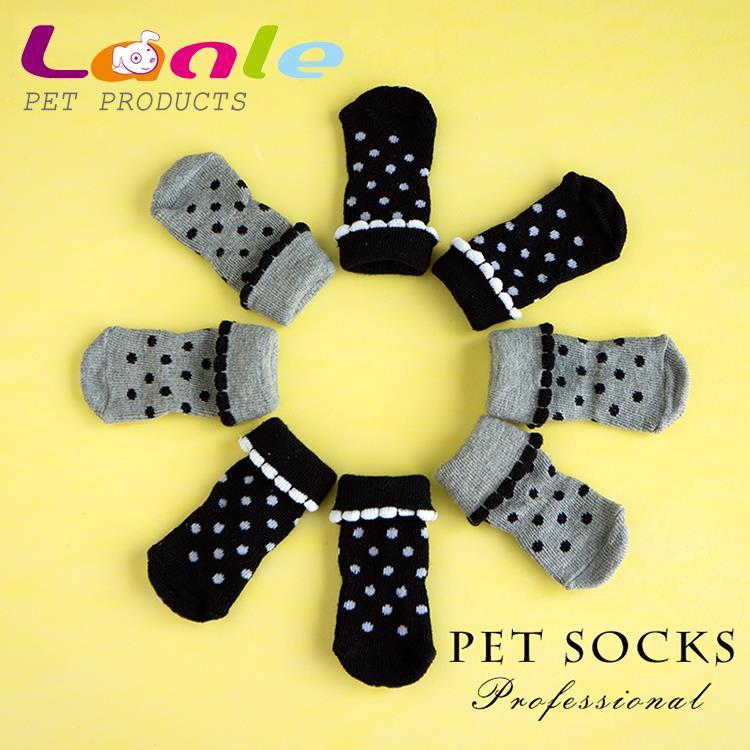 Petshop Products 2015 Warm Cute Pet Socks Indoor Cat Dog Floor Socks Anti-Slip Puppy Footwear 4pcs/set(China (Mainland))