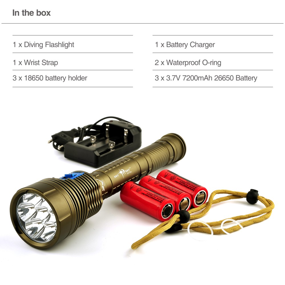 200M Lantern Cree LED Flashlight Torch XM-L2 14000 Lumens LED Lamp Light with Charger + 3 * 7200mAh Rechargeable Battery(China (Mainland))