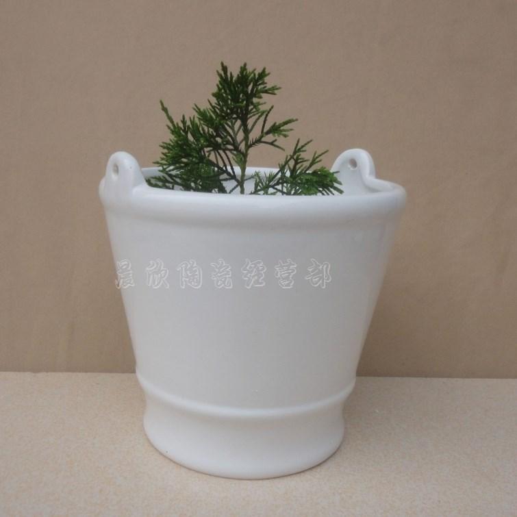 European White A Large Bucket Type Ceramic Flower Pot