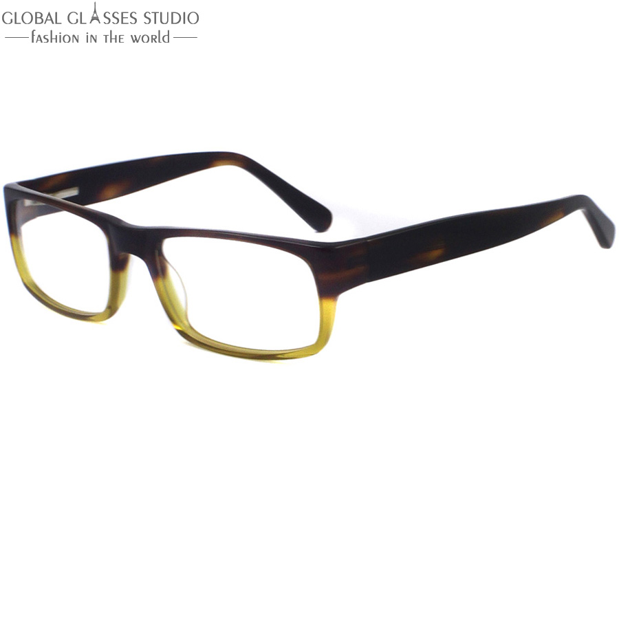 Very high quality Dark Brown and Light Yellow Color Men used clean lens Glasses Frame/Eyeglasses/Optical frames A085(China (Mainland))
