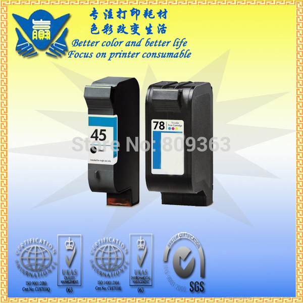 (1set)Cheap price! Remanufactured ink cartridge for HP45/ 51645A 78/ C6578D(China (Mainland))