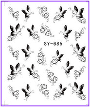 1X  Nail Sticker Black Butterfly  Water Transfers Stickers Nail Decals Stickers Water Decal Opp Sleeve Packing SY685(China (Mainland))