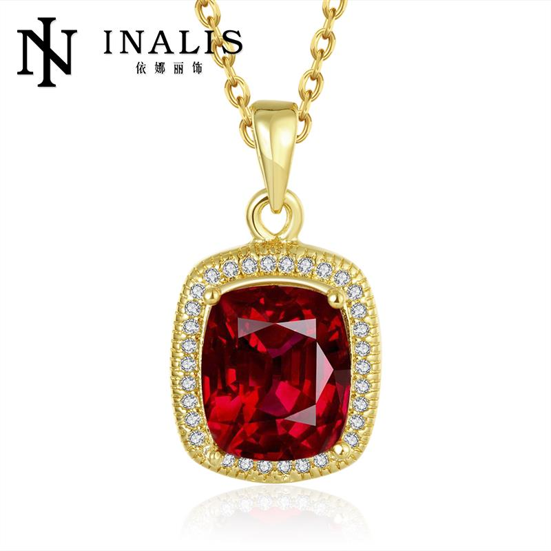 18K/Rose Gold/Platinum Plated Big Square Shiny CZ Pendant Necklaces Women Chain Antiallergic Necklace(China (Mainland))