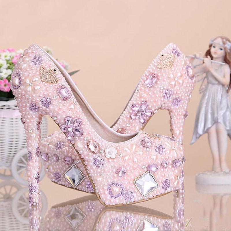 Pink Wedding Dress Shoes : Pink crystal wedding dress shoes imitation pearl