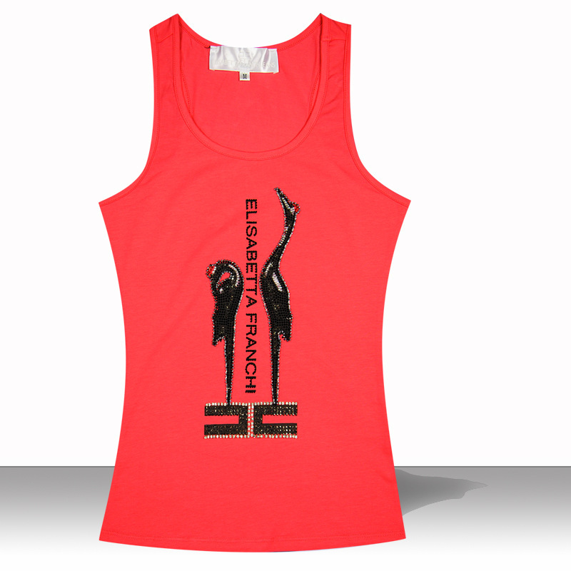 2015 brand new womens high-end printing exquisite handmade Rhinestone crowned crane Tank tops women 100% cotton vest plus sizeОдежда и ак�е��уары<br><br><br>Aliexpress