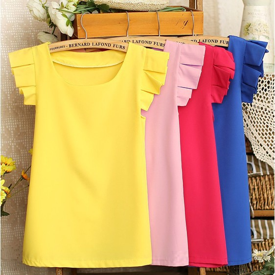 M L High Quality 2015 Summer Hot Sale Pure Color Butterfly Sleeve Blouses Fashion Elegant Leisure Shirt Chiffon Blouses Woman(China (Mainland))